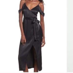 NWT Bardot Leah satin wrap dress cold shoulder